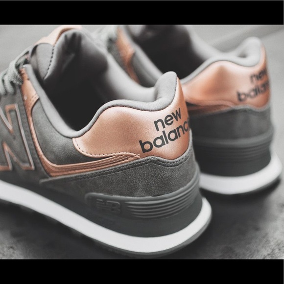 New balance women sneakers 574 grey with rose gold